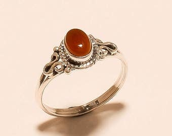 Natural Red Onyx Ring Onyx Cabochon Ring Sterling Silver Ring Red Onyx Gemstone Ring Onyx 925 Sterling Silver Red Onyx Stone Ring Us8 E-476