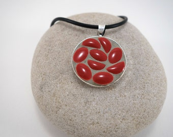 Necklace with a Medallion enamelled ceramic micro-mosaique red and black rubber necklace