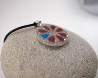 Necklace with a Medallion enamelled ceramic micro-mosaique pink and blue and black rubber necklace
