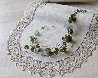 90 Inch Long Table Runner Narrow Table Scarf Linen Lace Dining Table Cloth  Purple Light Gray