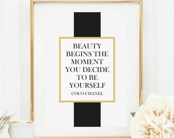 Poster, Print, Wallart, Kunstdrucke: Beauty begins the moment you decide to be yourself