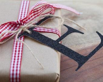Black glitter Initials, Initials hang tags, Christmas wrapping, handmade tags, Christmas gift tags, Christmas wrapping, black letters