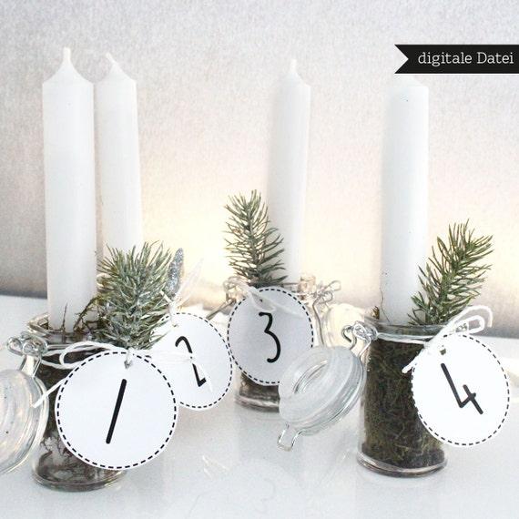 printable advent wreath tags numbers christmas tags. Black Bedroom Furniture Sets. Home Design Ideas