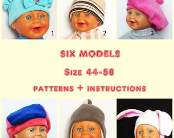 Set 6 models,Caps and Berets Warmer for Children,Boys,Girls and adult,Pattern,Winter Hats in Polar Fleece,Ear Warmer,Polar Cap,Cap with ears