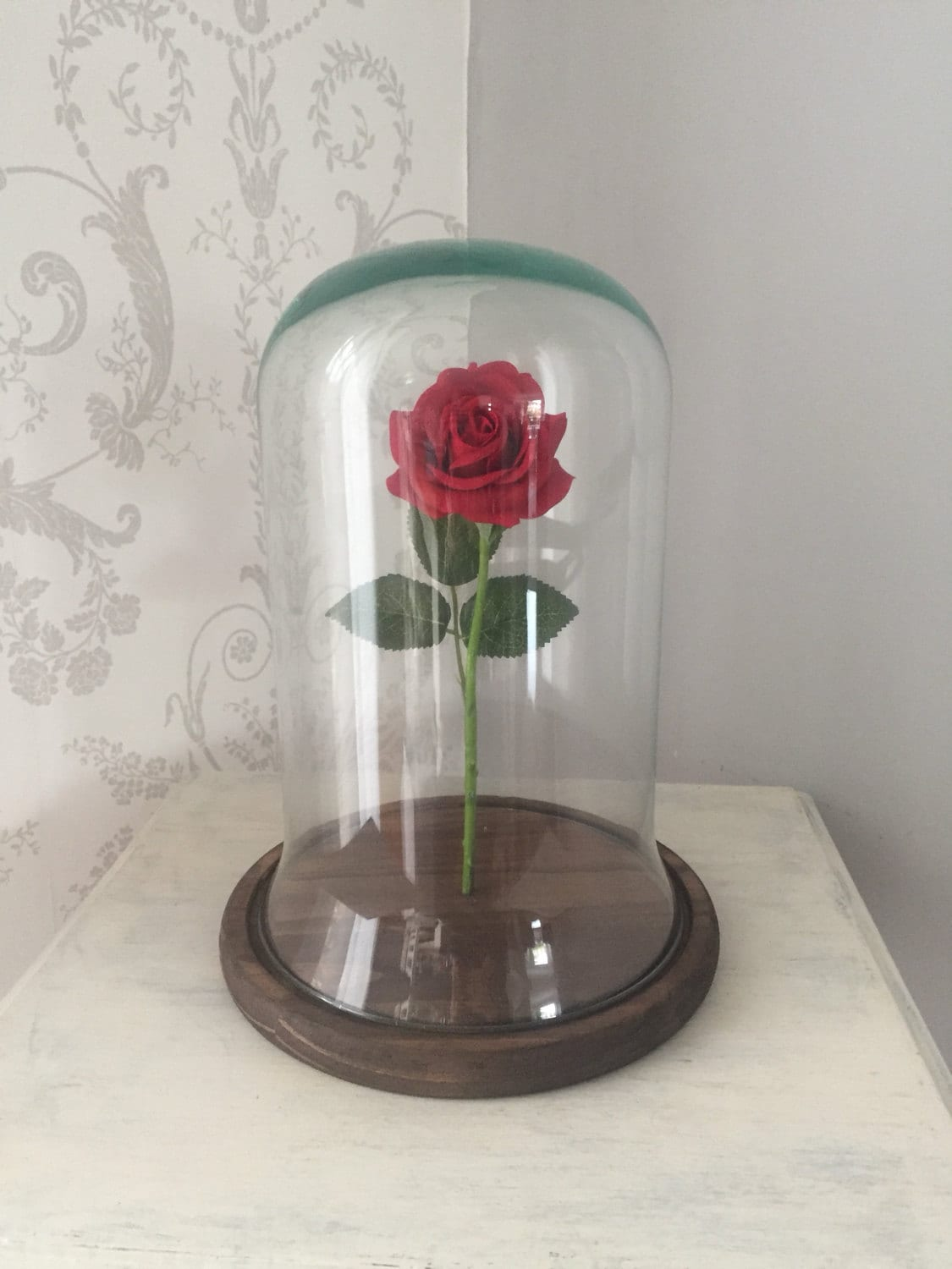 red rose custom made bell jar glass dome with painted and. Black Bedroom Furniture Sets. Home Design Ideas