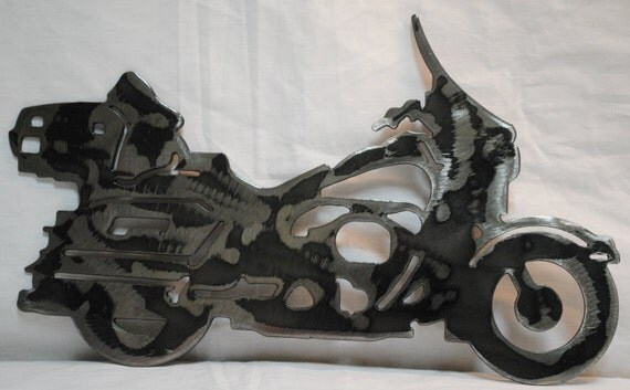 "Dresser Style 12"", Metal Motorcycle, Biker, Metal Biker, Dresser Motorcycle, Luxury Motorcycle, Metal Wall Hanging, Man Cave, Gift for Him"
