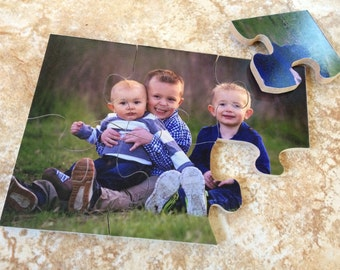 """Personalized Wood Puzzle!(5""""x7"""" with 6 pieces) Hand-crafted Personalized Puzzle for kids, Wood photo Puzzle Personalized"""
