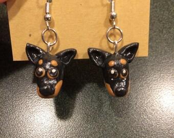 Clay Doberman earrings