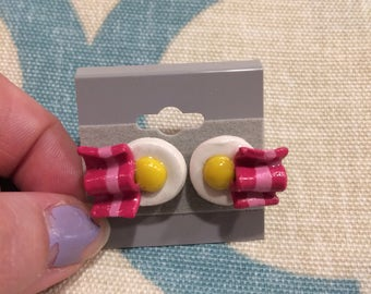 Clay bacon and egg earrings