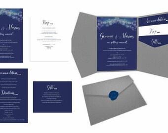 Navy Wedding Invitiation