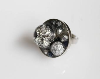 Ring, black and silver, resin