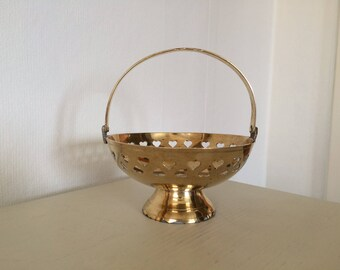 Small Brass Dish with Handle and Attractive Hearts Design