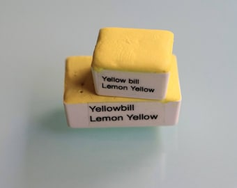 Handmade Watercolor paint Yellow bill Lemon yellow paint HALF and WHOLE pans - Discontinuing 50% off   Non toxic