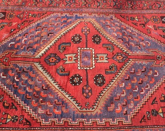 "Persian Hand-Knotted Mosel Rug (Terracotta, Blue, Brown) 213cm x 136cm (7'0"" x 4'5"")"