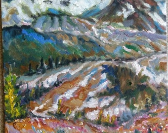 "Original Oil Painting, Spring Mountains Canada, 1705058, 12""x9"""