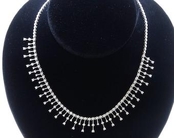 18K White Gold Necklace/Diamond- 6.64ct/Gold- 28.67 Grams