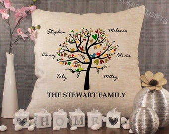 Luxury Personalised Cream Chenille Cushion - Inner Pad Included, Autumn Family Tree