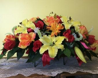 Headstone saddle cemetery flowers artificial flower for Arrangement floral artificiel