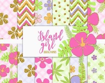 Island Girl Digital Paper Pack | Scrapbook Paper | Printable Background | 12 JPG, 300dpi files.