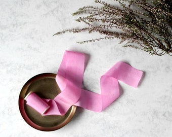 """Hand dyed silk ribbon, fuchsia, on wooden spool, plant dyed, 1"""", wedding decoration, pink silk, photography props, pink luxury silk ribbon"""