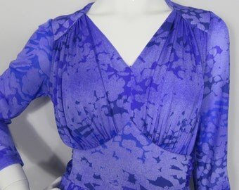 Vintage 1970s Abstract Print MAXI Evening Dress by FINK MODELL-Uk 16