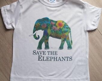 """Kids T-Shirt Elephant - """"Save the elephants"""""""