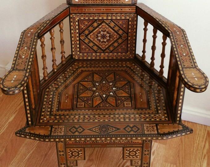 Wooden Chair, Wood chair, Syrian mosaic chair, Arm chair, Arabic Chairs, Decorative chair, Marquetry wood, wooden decor, Syrian Art