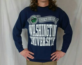 Vintage 1993 Western Washington University Sweatshirt • Size MEDIUM • Navy Blue College Athletic Sweatshirt • 90s Sweatshirt • 90s Clothing