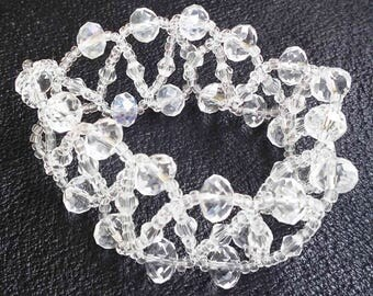 Rhinestones Beads Bracelet, for wedding, Transparent Glass Beads, handmade