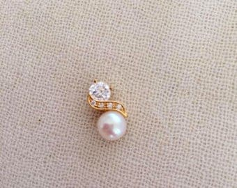 Freshwater 7mm white freshwater white pearl& 18k/18ct filled yellow gold pendant