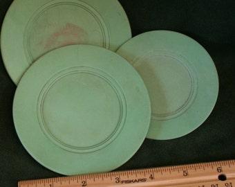 Three Vintage  Green Plastic Toy Plates