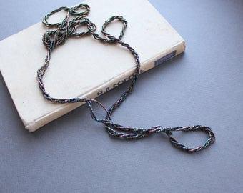 Vintage Long Necklace - Soviet Vintage 1970s Seed Beads Elegant Necklace - Retro Black Beaded Necklace - Vintage Bijoux - Vintage Jewelry