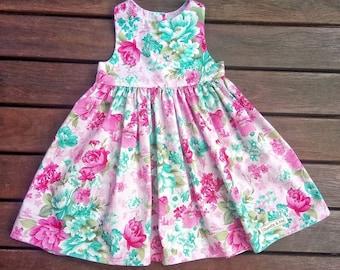 Girls Tea party dress, Girls Dress, Gorgeous Pink and Teal floral dress, floral dress, Tea party dress, flowers, floral fabric, pink, teal