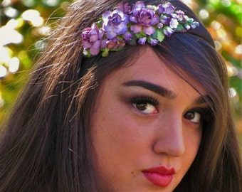 Purple Flower Headband - Wedding Headband, Bridal Headband, Purple Headband, Flower Headband, Wedding Flower Crown, Purple Floral Headband