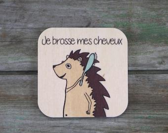 "Symbol ""I brush my hair"", wooden - Daily Routine - 3 to 5 years"