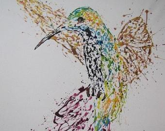 Painting Humming Bird  Original  painting on canvas, Beautiful refreshing colors, TOMER SHARABANI