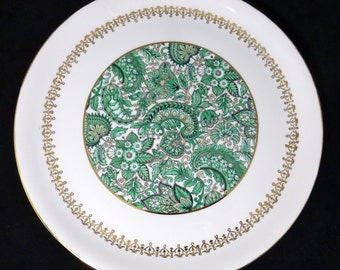 Pilivite J Chomete Large Cake Plate Green Paisley Pattern – Mehun, France and London