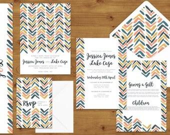 Retro Chic Wedding Invitations Stationery Set - Blush - Peach - Yellow - Blue - Chevron - Printed or Digital Download - Wedding Printable