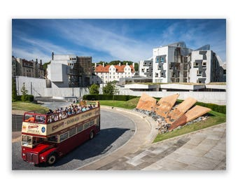 Edinburgh Tour Bus and Holyrood Scottish Parliament A4 / A3 Photograph Photographic Print - Scotland, Scottish Landscape