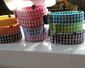 Set of 10 Gingham Custom Adjustable Newborn Puppy Whelping Collars