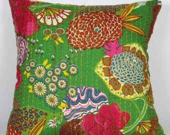 Indian quilted 16x16 kantha cushion covers multi color handmade green pillow covers 18x18 kantha pillow 40x40 ethnic cushions pillowcase