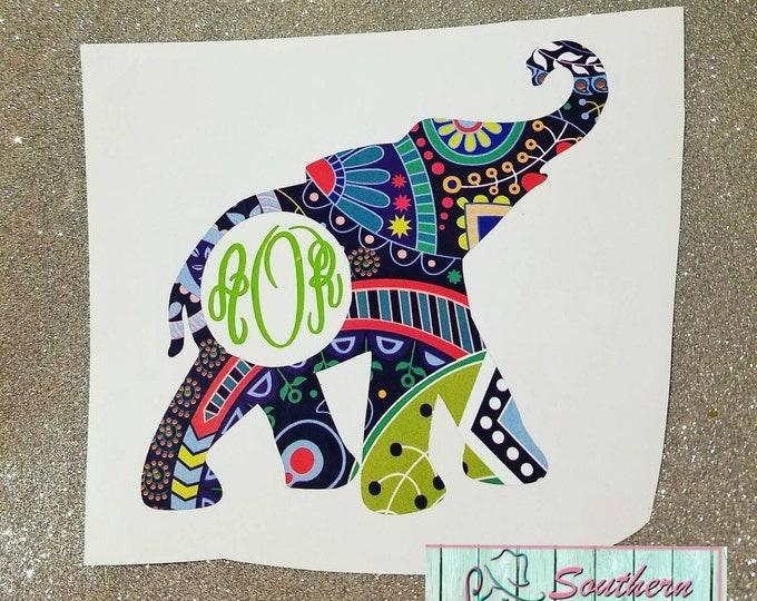 Southern Fashionista - Elephant monogram car decal