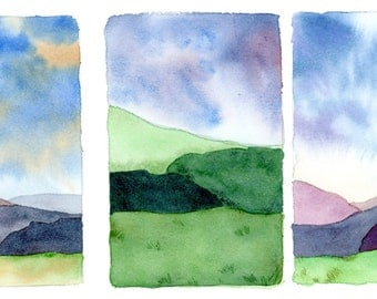 Small Watercolor Landscape Triptych