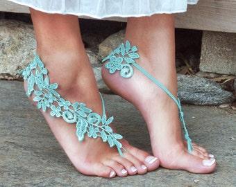 AQUA Barefoot Sandals, LYNSAY Mint Tiffny Bleu Green Match Wedding Colors Comfortable Bride Shoes Something Blue Tradition Gift Prom Beachy