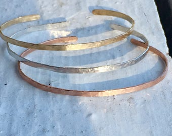 Stackable Hammered Cuffs