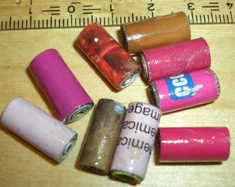 10 pieces - paper bead - tube/tube - 15x7mm Red Brown