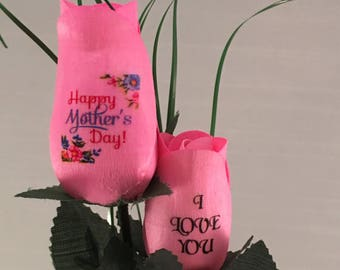 Happy Mother's Day - I Love You - 2 Wooden Rose Bouquet