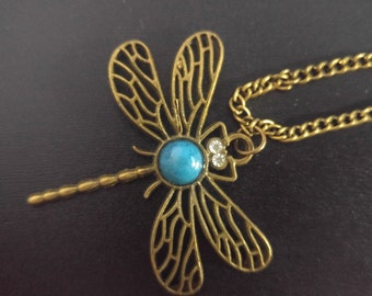 Dragonfly Pendant Necklace Charm, Metal Insect Jewelry Nature Bug Necklace