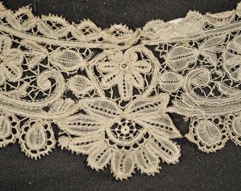 Antique Lace Collar Mixed Lace Duchesse Bobbin Lace AND Point De Gaze Handmade Museum DEACCESSION