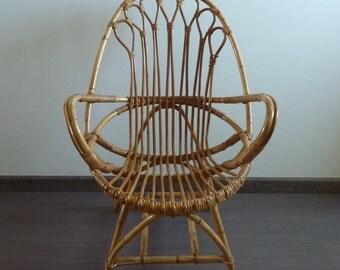Chair egg shaped rattan basket, 1960s vintage